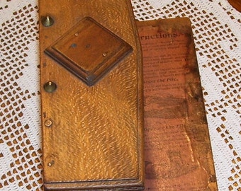 Antique Wood File Box, Office  Filing System, Simple Account File Co. Original Instructions, Fremont, Sandusky Ohio, Desk and Office Supply
