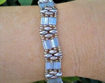 Bracelet Silver Gray Gentle Wave Band