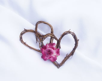 Pew Marker Rustic Vine Hearts With Silk Flower For Aisle Decorations At Rustic Wedding Decor, Bridal Shower - 10 Pcs