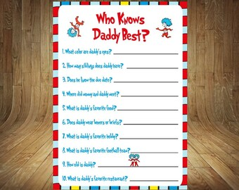 Thing 1 Thing 2 Baby Shower Game, Thing 1 Thing 2 Baby Shower, Thing 1 Thing 2 Who Knows Daddy Best, Who Knows Daddy Best, Daddy Best