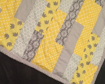Yellow & grey elephant baby quilt
