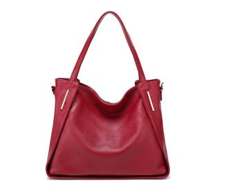 Large slouchy red leather tote bag