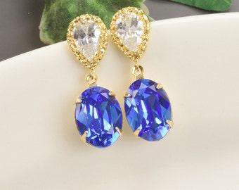 Sapphire Blue Swarovski Earrings Gold Royal Blue Bridal Earrings Crystal Teardrop Wedding Earrings Bridesmaids Jewelry Gifts