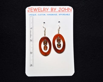 Orange Stone Loops Filled with Silver and Burnt Crystal Beads on Ear Wires Earrings