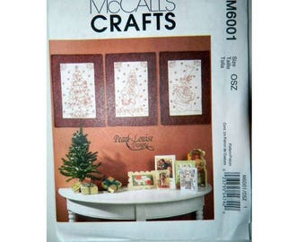 McCall's Pattern 6001 - Redwork Quilts - Wall Hangings Pattern - Uncut