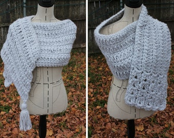 Asymmetrical Scarf PDF Crochet Pattern- Shawl / Scarf . Chunky Crochet Shawl - Op Shop Recycled.
