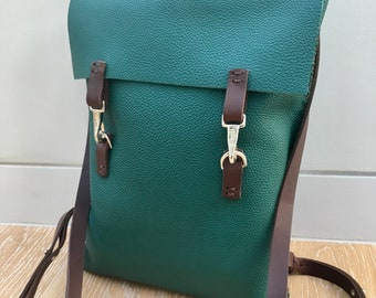 Handmade in UK Artisan soft thick grainy green leather ladies rucksack backpack with brown straps