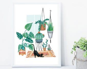 Cat Print, Potted Jungle Print, Botanical Illustration, Plants Print, Indoor Plants, Botanical Print, Cactus Print, Terrarium Print