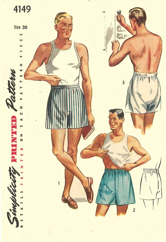 Men's Vintage Reproduction Sewing Patterns Vintage 1950s Sewing Pattern Mens Shorts Boxer Shorts Underwear Size 30 ReproductionVintage 1950s Sewing Pattern Mens Shorts Boxer Shorts Underwear Size 30 Reproduction $21.35 AT vintagedancer.com