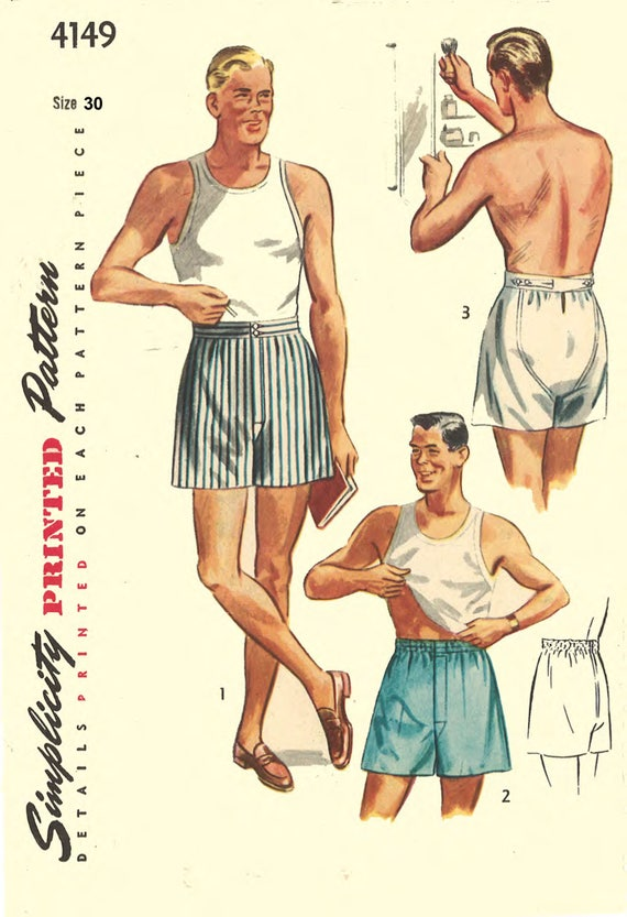 Men's Vintage Reproduction Sewing Patterns 1950s Underwear Sewing Pattern Mens Shorts Boxer Shorts Underwear Size 30 ReproductionVintage 1950s Sewing Pattern Mens Shorts Boxer Shorts Underwear Size 30 Reproduction $21.35 AT vintagedancer.com