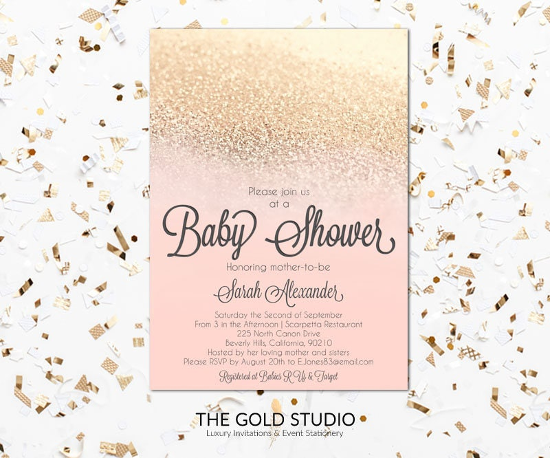 Peach & Gold Glitter Baby shower Invitation | Modern Blush Gold ...