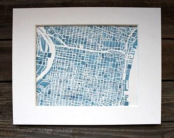 Philadelphia 8x10 Map Print Modern blueprint City Map ombre indigo