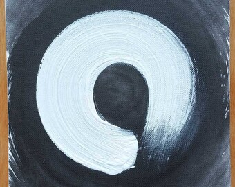 Enso painting white on black - original, not a print