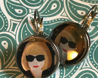 Anna Wintour cabochon earrings - 16mm
