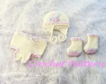 Sweet Baby Photo Prop Ruffle Set Crochet Pattern PDF 482