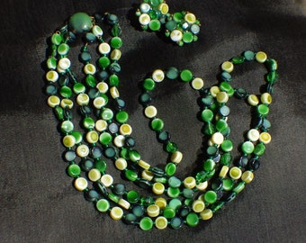 Vintage three strand necklace and earrings. Different shades of green.