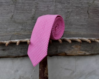 Pink Gingham Necktie