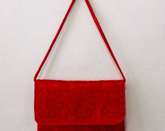Embroidered red silk wedding clutch bag