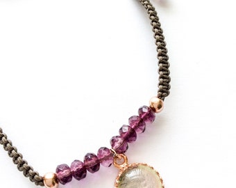 Rose Gold Sterling Beaded Crystal Friendship Bracelet