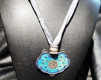 Antique Chinese Enamel Pendant Necklace Reversible OOAK Original Design