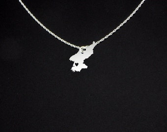 North Korea Necklace - Sterling Silver - North Korea Jewelry - North Korea Gift