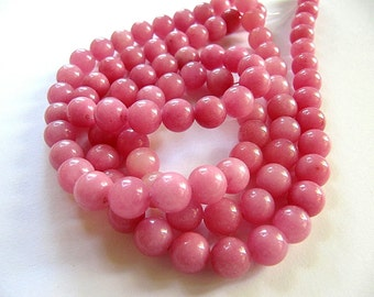 8mm JADE Beads in Rose Pink, Round, Smooth, Stone, Full Strand, 45 Pcs, Candy Jade, Mountain Jade, Opaque, Gemstones