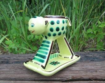Crazy Cat Candle Trinket Holder PV France Pottery