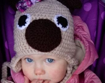 crochet pug hat, crochet dog hat, winter hat, crochet character hat, baby photography prop, children's hat, earflap hat, hat with bow