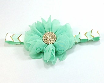 Baby Headband, Mint Headband, White Headband, Mint and Gold Headband, Gold Headband, Chevron Headband, Birthday headband, Newborn Headband