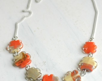 Stunning Necklace, Summer Necklace, Natural Necklace, Beige Necklace, Lampwork Necklace, Glass beads necklace, Colorful Necklace