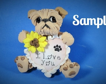 Tan Brussels Griffon Natural Ears  I LOVE YOU heart sculpture Polymer Clay art by Sally's Bits of Clay