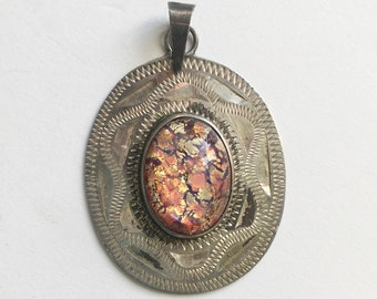 vintage mexican opal glass pendant, sterling