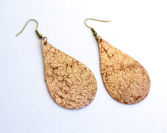 Large Leather Teardrop Earrings:  Distressed Copper Large Leather Tear Drop  Earrings--Lightweight Leather Earrings