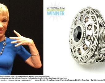 Worn by Barbra Corcoran! Award Winning Palladium, diamond ring. Black rose cut and Argyle Cognac diamond. 2.85cttw deco gothic engagement