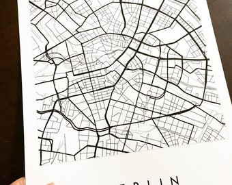 BERLIN Map Street Map GERMANY City Map Drawing Black and White (Art Print) Wedding Anniversary Gift Wall Decor