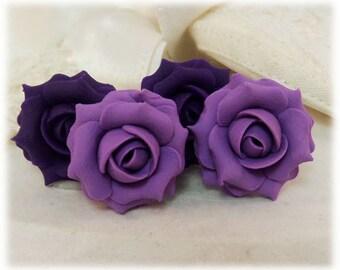 Purple Rose Earrings Stud or Clip On - Purple Rose Jewelry, Purple Flower Earrings