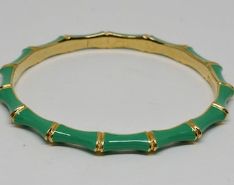 Gold tone and Green enamel Bangle Bracelet