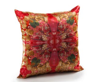 Home decoration, Red Pillow, Leaves pillow Cover, Floral Decorative cushions,Printed Satin Pillow,Home gifts, Home decor