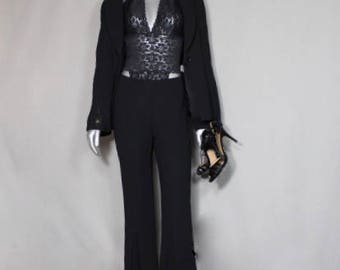 Black Unique Classically Elegant Vintage Ladies PantsSuit