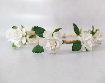 White flower crown - white wedding floral headpiece -  flower leaves crown wedding bridal girl - flower hair accessories