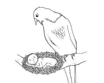 Surprise Birthday Card/Funny Bird Card/New Baby Card
