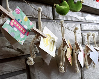 Countdown to Christmas - Children's Advent Calendar - Family Tradition - Advent Garland - Rustic Chic - Christmas Decoration - Holiday Fun