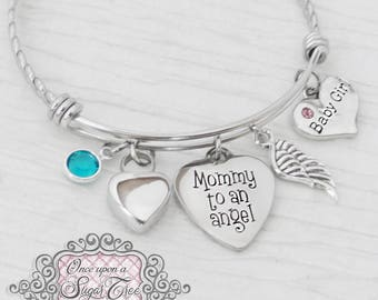 Pregnancy Loss Jewelry- Mommy to an Angel Bracelet, Cremation Jewelry, Urn Cremation Bracelet- Remembrance, Infant Loss, Bereavement, Wing