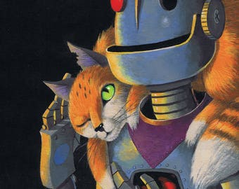 Robots Love Cats - Fits 11 x 14 Mat - Limited Editon Giclee Print From an Original Painting by Annie Lunsford - Robot Art Scrappy Orange Cat