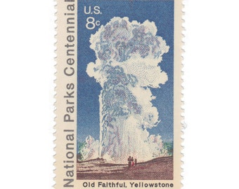 10 Unused Vintage Postage Stamps - 1972 8c National Parks / Old Faithful - Item No. 1453