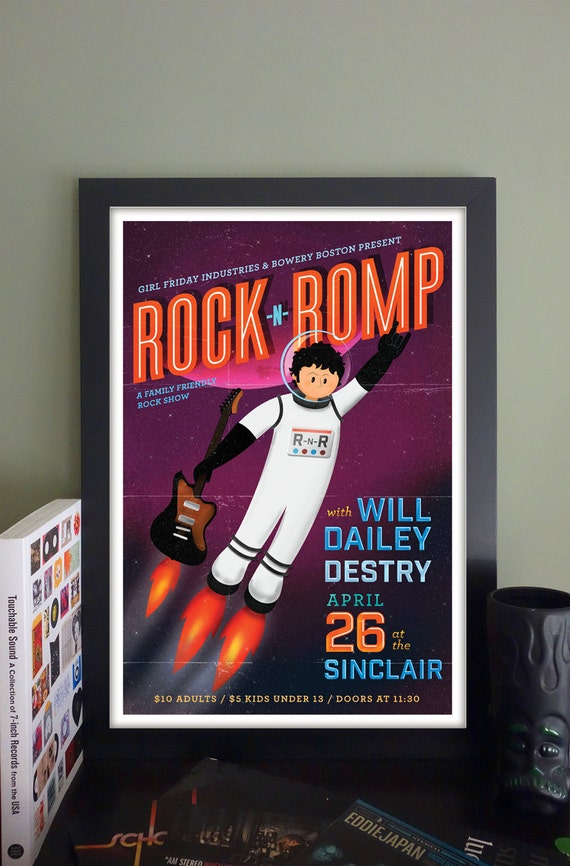 "Rock 'n' Romp Gig Poster with Will Dailey, Destry // The Sinclair, Cambridge, MA 13""x19"""
