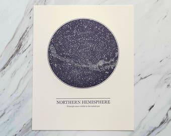 Northern Hemisphere Constellation Letter Press Print, Wall Art, Star Chart, Blue Print, Star Map, Astronomy Print