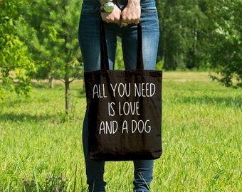 All You Need Is Love And A Dog // Casual Cotton Canvas Tote