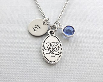 I Love You Necklace, Love Necklace, Valentine's Day Gift,  Gifts For Her, Swarovski Birthstone Silver Personalized Monogram Hand Stamped