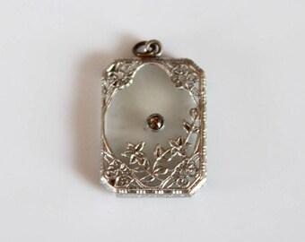 camphor glass pendant / Art Deco pendant / vintage 30s pendant with rhinestone / 1930s glass pendant